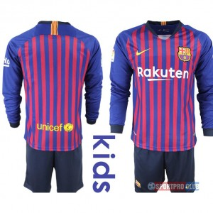 18-19 SEASON JERSEY Barcelona home long sleeve kids FCバルセロナ ユニフォーム 長袖 セット Barcelona home long sleeve kids purple blank red レッド 赤 kids キッズ サッカースパイク