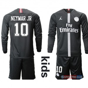 18-19 SEASON JERSEY Paris Saint Germain Jordan home kids long sleeves #10 NeymarJR パリ/サンジェルマンFC ユニフォーム ホーム 長袖セット#10ネイマール Paris Saint Germain Jordan home kids long sleeves 10 black ブラック 黒 kids キッズ サッカースパイク