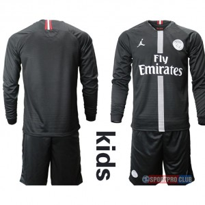 18-19 SEASON JERSEY Paris Saint Germain Jordan home kids long sleeves パリ/サンジェルマンFC ユニフォーム ホーム 長袖セット Paris Saint Germain Jordan home kids long sleeves blank black ブラック 黒 kids キッズ サッカースパイク