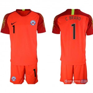 Chile red goalkeeper 1# チリ ユニフォーム アウェイ 半袖 レプリカ セット ゴールキーパー Chile red 1 red レッド 赤 mens メンズ サッカースパイク