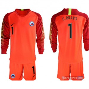 chile red goalkeeper long sleeve 1# チリ ユニフォーム アウェイ 長袖 レプリカ セット ゴールキーパー chile long red 1 red レッド 赤 mens メンズ サッカースパイク