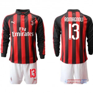AC milan home long sleeve 13# ACミラン ホーム 長袖 レプリカ セット jersey AC Long 13 Red/White レッド/ホワイト 赤/白 mens メンズ サッカースパイク