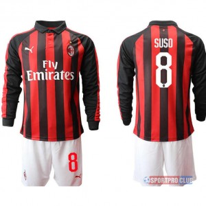 AC milan home long sleeve 8# ACミラン ホーム 長袖 レプリカ セット jersey AC Long 8 Red/White レッド/ホワイト 赤/白 mens メンズ サッカースパイク