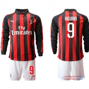 AC milan home long sleeve 9# ACミラン ホーム 長袖 レプリカ セット jersey AC Long 9 Red/White レッド/ホワイト 赤/白 mens メンズ サッカースパイク