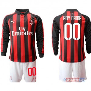 AC milan home long sleeve Print NO.# Name ACミラン ホーム 長袖 レプリカ セット jersey AC Long 0 Red/White レッド/ホワイト 赤/白 mens メンズ サッカースパイク