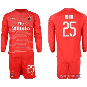 AC milan red goalkeeper long sleeve 25# ACミラン 長袖 レプリカ セット ゴールキーパー jersey AC Long red 25 Red レッド 赤 mens メンズ サッカースパイク